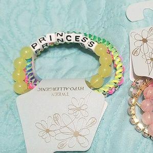 TWEEN Pink and Green Bracelet Set